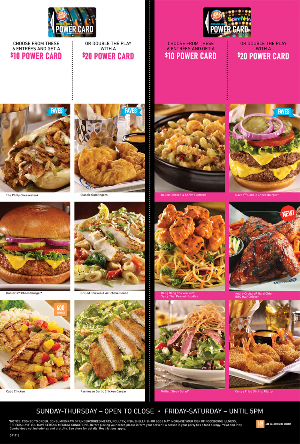 Dave & Buster's Eat Combo