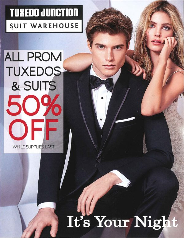 b278f36041fc Starting now, get 50% OFF all Prom tuxedos and suits, while supplies last!  Plus own your own new tuxedo starting at just 129.95! See an associate for  more ...