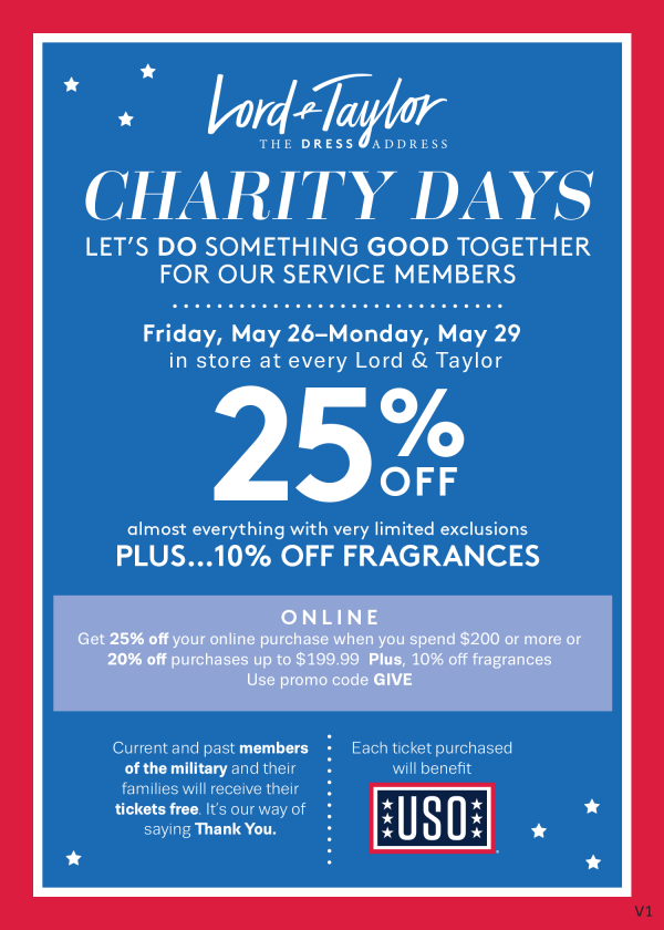Lord & Taylor Charity Days_25% OFF Memorial Day Weekend