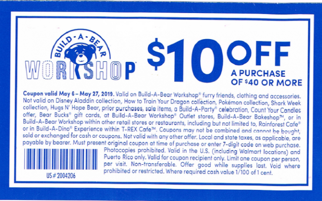 build a bear may 2019 coupon