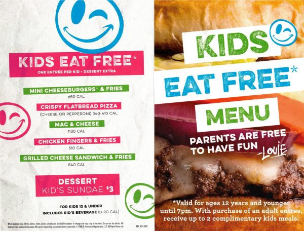 Bar Louie Kids Eat Free Flyer