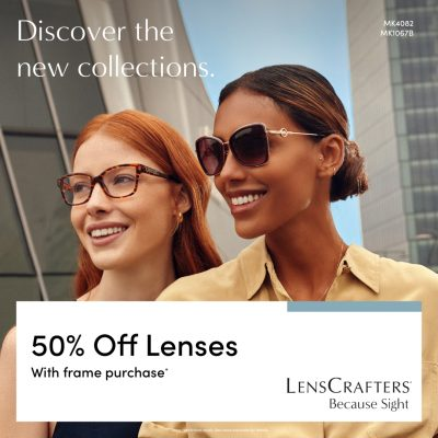 LensCrafters May Campaign Receive 50 off lenses with a purchase of a frame 1080x1080 EN