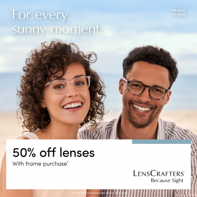 LensCrafters For every sunny moment 50 off lenses with frame purchase 1080x1080 EN